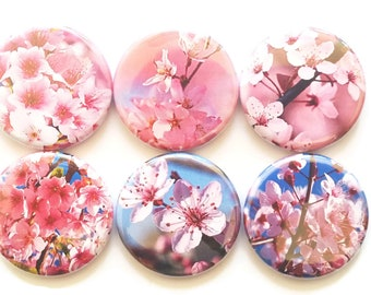 Cherry Blossoms Magnets, Fridge Magnets, Country Decor, Japanese Flowers, Magnets, Refrigerator Magnets, Pink, Pretty, Decorative, 6/Set