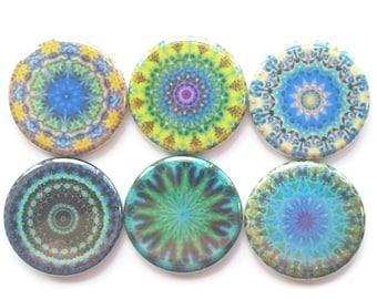 Mandala Magnets, Fridge Magnets, Decorative Refrigerator Magnets, 6/Set