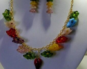 Chunky Multi Colour Glass Flower Jewellery Set