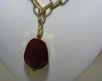 Pink Agate Pendant Necklace