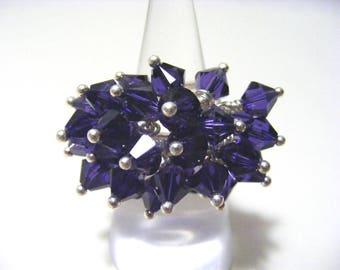 Purple Velvet Swarovski Crystal Bicone Adjustable Ring