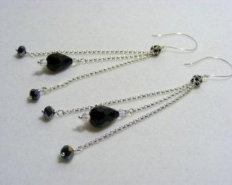 Black and Silver Long Dangling Earrings