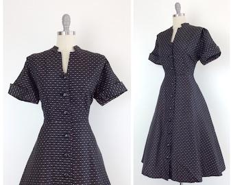50s Pink & Black Party Dress / 1950s Vintage Shirtwaist Sun Summer Dress / Medium / Size 8
