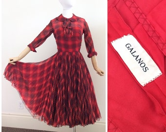 50s Red Plaid Silk Chiffon GALANOS Dress / 1950s Vintage Party Dress / Small / Size 4