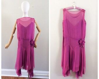 20s Purple Orchid Silk Chiffon Party Dress / 1920s Vintage Gatsby Flapper Drop Waist Dress / Medium / Size 10