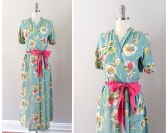 40s Blue Floral Rayon Wrap Dress / 1940s Vintage Dressing Gown Robe / Medium to Large