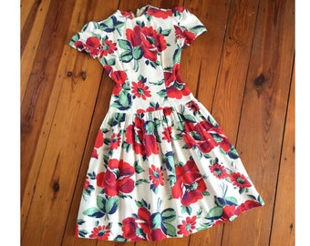 40s Floral Cotton Day Dress / 1940s 30s Vintage Day Dress / Small / Size 4
