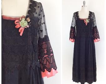 Edwardian Black Lace Dress / 1900s Antique Tea Length Gown / Medium / Size 8