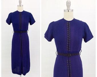 c0e5e5cf0f93b3 40s diep paars blauwe knop jurk   1940s Vintage dag jurk   kleine   grootte  2 tot 6