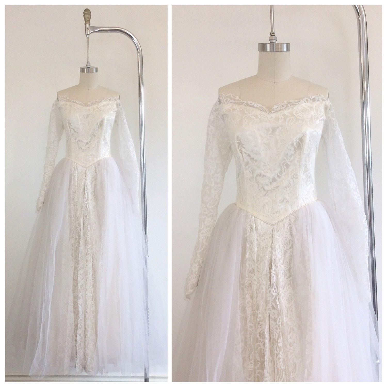 Cream Wedding Gown: 50s Lace And Tulle Princess Cream Wedding Dress / 1950s