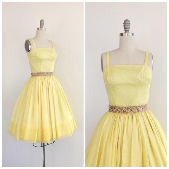 ea7efef23 50s Yellow Chiffon Party Dress   1950s Vintage Prom Dress   XS