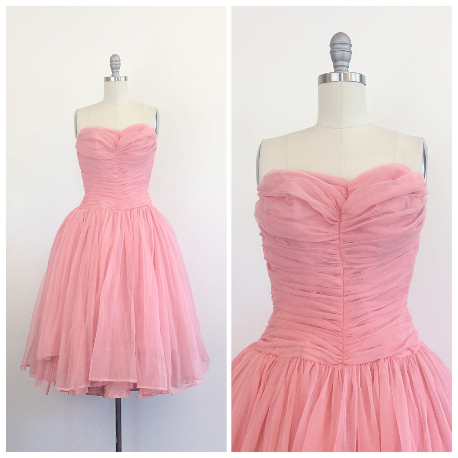 50s Pink Nylon Sweetheart Ruched Party Dress / 1950s