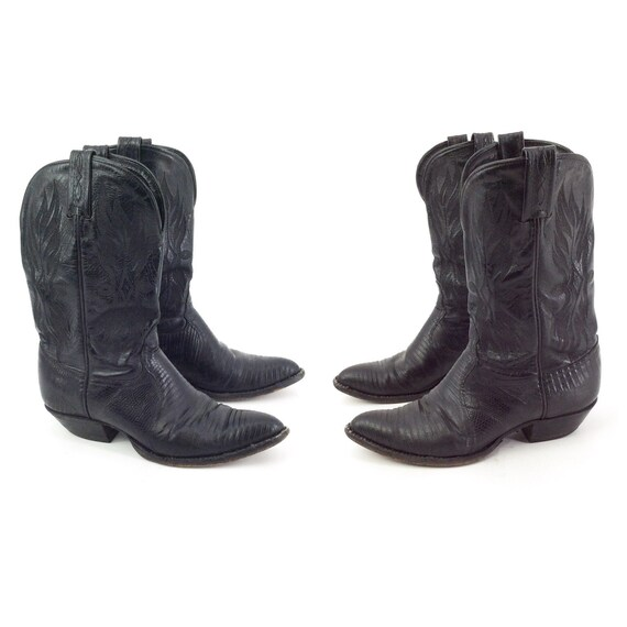 70s Black Ankle Cowboy Boots / 1970s Vintage Vinta