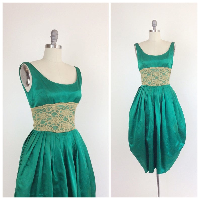fe01557c74694 50s Emerald Green Satin Party Dress   1950s Vintage Prom