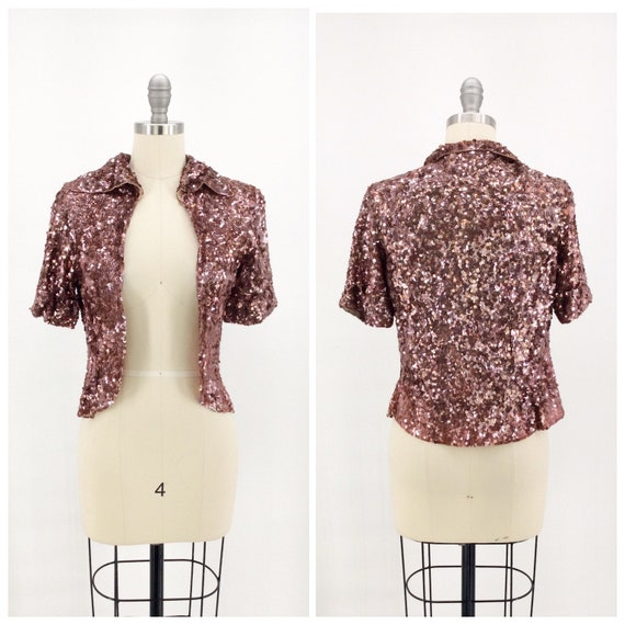 30s Brown Sequin Bolero Jacket / 1930s Vintage Sho
