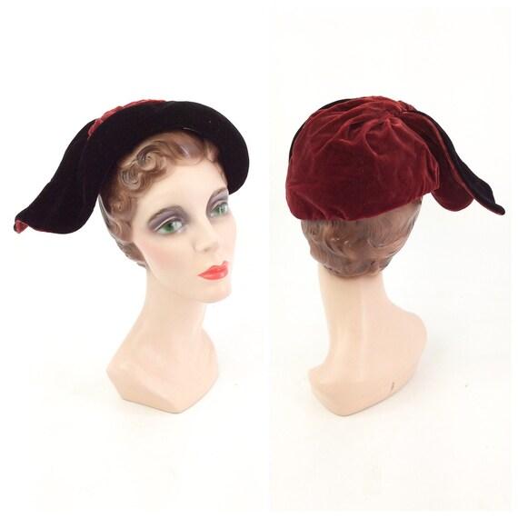 50s Red & Black Silk Velvet Asymmetrical Hat / 195