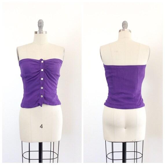 50s Purple Cotton Sun Top / 1950s Vintage Shirt Pi
