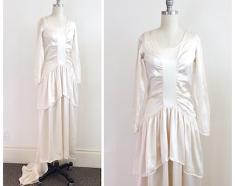 30s Ivory Silk Wedding Dress / 1930s Vintage Long Sleeved Bridal Gown / XS / Size 0