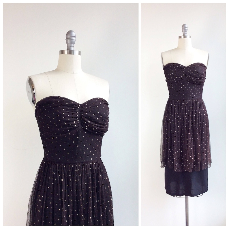 c85c51445584f FINAL SALE /// 40s Black & Gold Crepe Dress / 1940s Vintage   Etsy