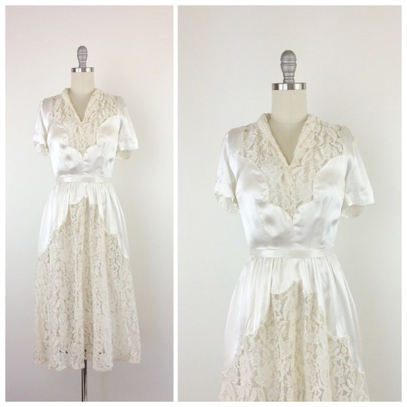 40s Satin & Lace Wedding Dress / 1940s Vintage Gown