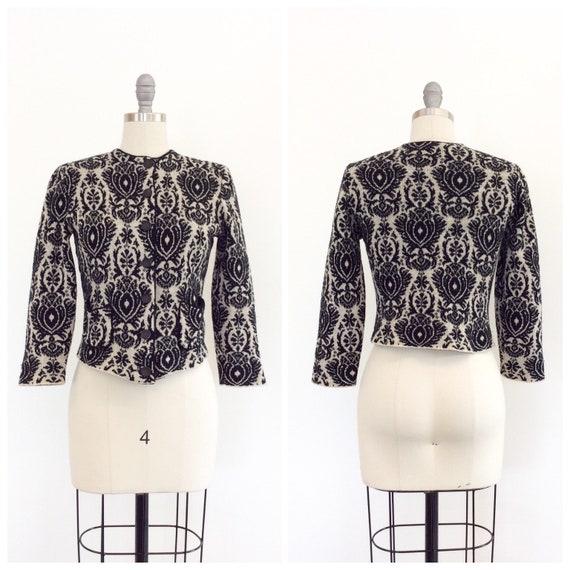 60s Black & Cream Knit Catalina Cardigan / 1960s V