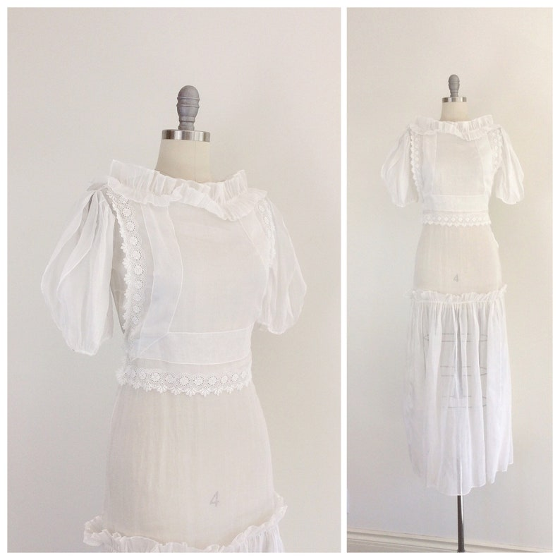 b2b6a6cba82b5 30s White Sheer Wedding Dress   1930s Vintage Ruffled Bridal