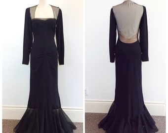 40s Black Morticia Addams Rayon Crepe Floor Length Dress / 1940s Vintage Goth Halloween Gown / Medium / Size 6 to 8