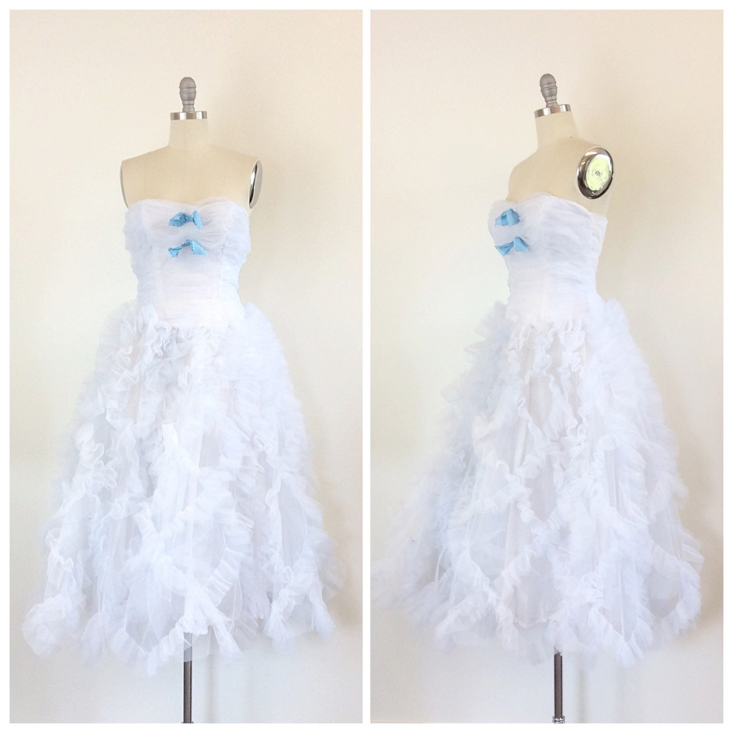 9cba174a855 50s Light Blue / White Ruffled Prom Dress - 1950s Vintage Strapless Cupcake  Party Dress- Small - Size 4