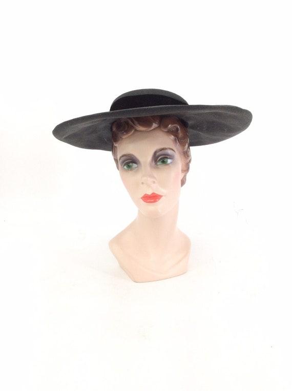 50s Black Woven Wide Brim Hat / 1950s Vintage Sun