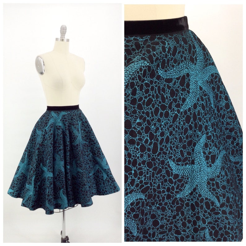 40e98016293fd 50s Star Fish Print Felt Circle Skirt / 1950s Vintage Blue & | Etsy