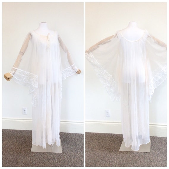 50 DOLLAR SALE /// 60s Peachy White Chiffon & Lac… - image 1