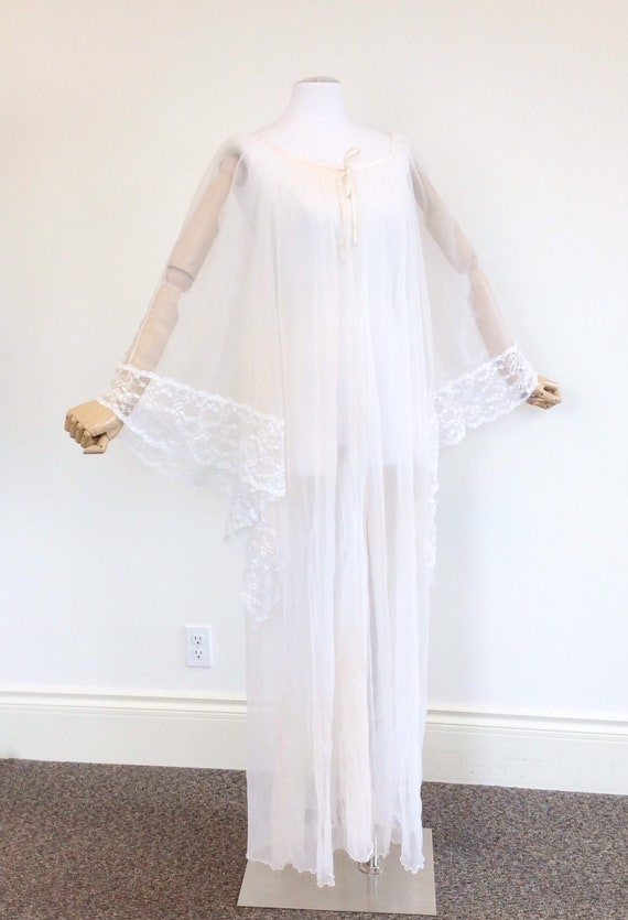 50 DOLLAR SALE /// 60s Peachy White Chiffon & Lac… - image 5