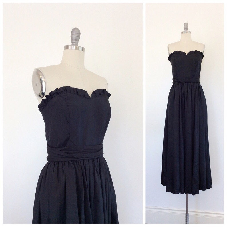 40s Black Strapless Gown / 1940s