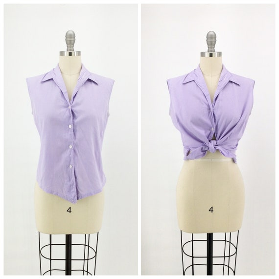 50s Lavender Cotton Sun Top / 1950s Vintage Sleeve