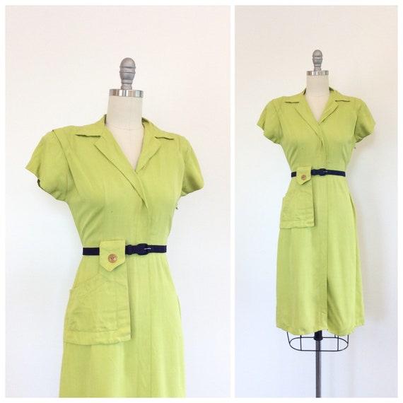 40s Chartreuse Gabardine Cotton Dress / 1940s Vint