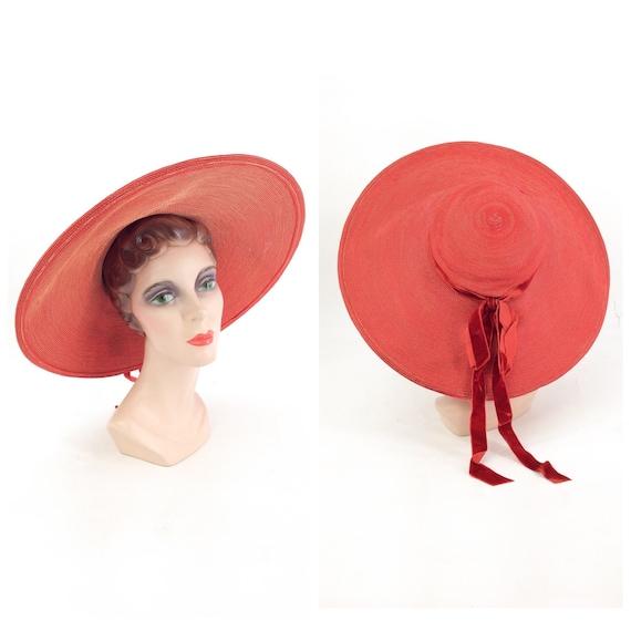 50s Red Woven Wide Brim Hat / 1950s Vintage Sun Ha