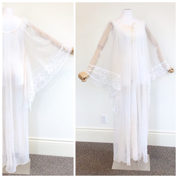 50 DOLLAR SALE /// 60s Peachy White Chiffon & Lac… - image 2