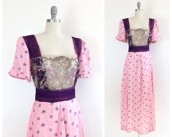 Edwardian Pink & Purple Silk Dress / 1900s Antique Tea Length Gown / Medium / Size 8