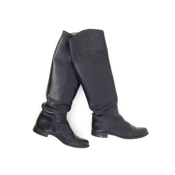 FINAL SALE /// Black Leather Knee High Riding Boot