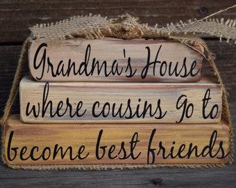 Vintage Grandma's House Block Decor Cursive Font Yellow