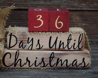 Vintage Christmas Countdown Blocks/Days Until Christmas  - Off White with Red #s