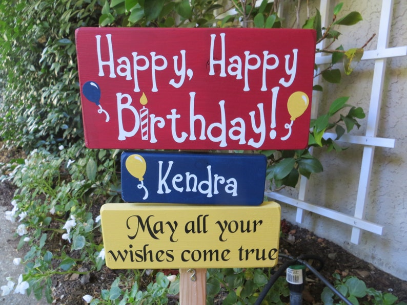 Personalized Happy Birthday Yard Sign  May All Your Wishes image 0