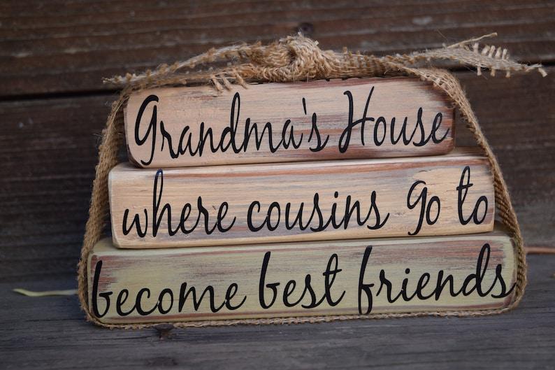 Vintage Grandma's House Block Decor Cursive Font Sage image 0