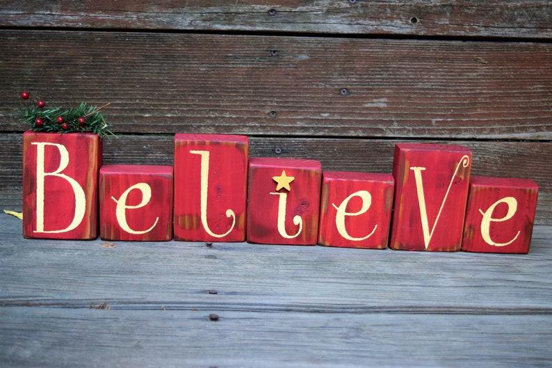 Believe Christmas FREE SHIPPING Vintage Holiday Decor image 0