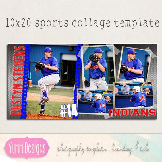 psd collage template sports template sports collage etsy