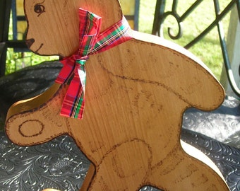 Wood Burned Bear Plaque