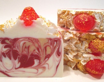 Champagne and Strawberries Soap Handmade Cold Process Vegan Soap