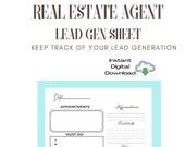 Real Estate Agent | Sales Call Worksheet |Planner | Organizer | Tracker
