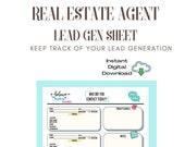 Real Estate Agent Lead Generation Worksheet | Tracker using LPMAMA