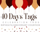 Red and Gold Celebration Countdown Tags for Birthdays | Anniversaries | Retirement | Events